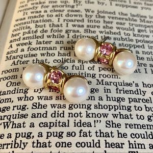 Vintage Signed Monet Pearl Earrings